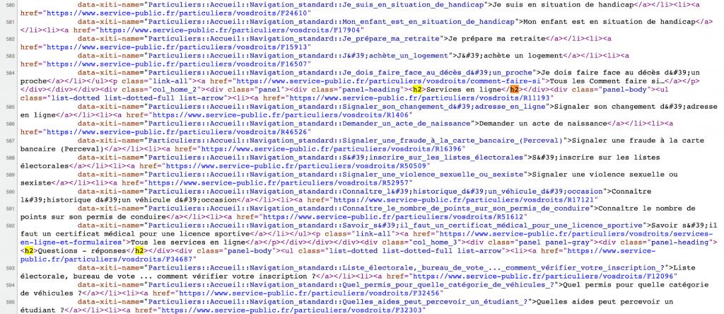 Le code de la page laisse apparaître les mots-clés les plus pertinents