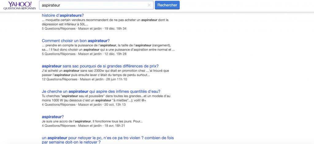 Yahoo questions réponses