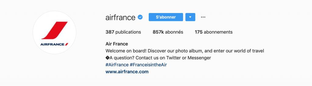 Les tags de la page AirFrance
