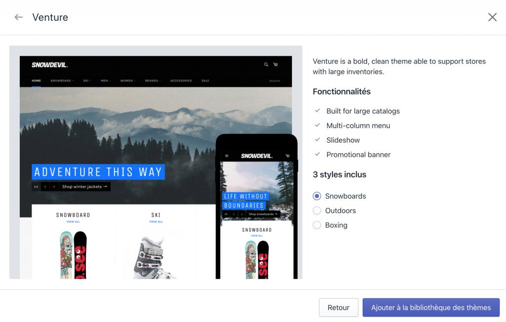 Choisir un thème Shopify