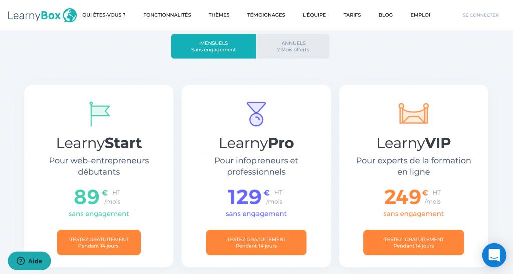Les tarifs de LearnyBox