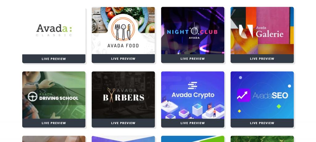 Sites pré-construits avec le meilleur thème WordPress Avada