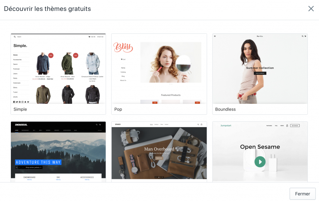 Thème Shopify pour créer un site de DropShipping