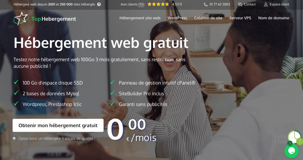 hébergement web pas cher ou gratuit sur TopHebergement