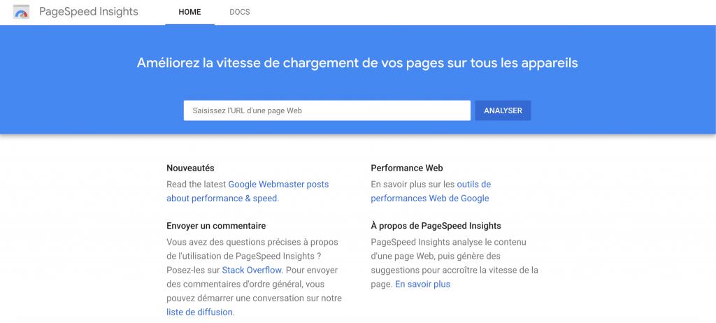 Page insight est un bon outil pour ameliorer la vitesse de chargement de son site wordpress